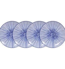 Tokyo Design Studio Tokyo Design Studio | Nippon Blue | Set van 4 Borden Ø 25,7 cm | Lines