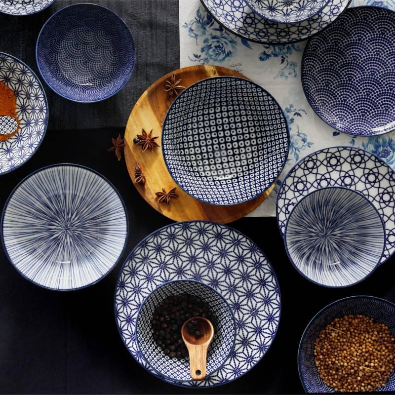 Tokyo Design Studio Tokyo Design Studio | Nippon Blue | 4-er Set Teller Ø 25,7 cm  | Dots Muster
