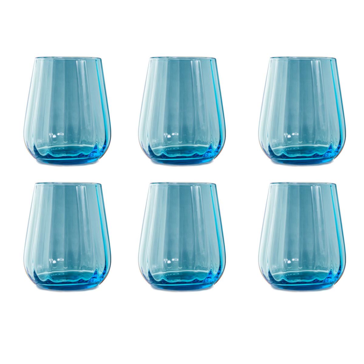 Livellara Livellara RINASCIMENTO  Verre Tumbler 400 ml – Lot de 6 – Turquoise