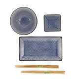 Tokyo Design Studio Coffret Service à Sushi Glassy Blue Wave de Tokyo Design Studio – 8-pièces