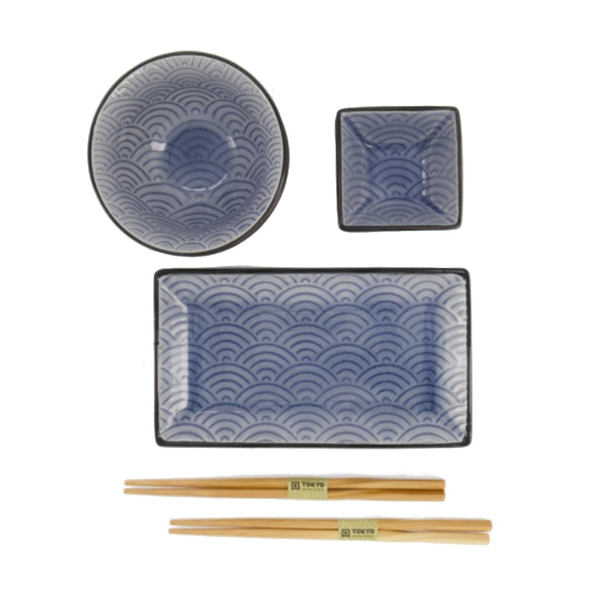 Tokyo Design Studio Tokyo Design Studio Glassy Glassy Blue Wave  6-teiliges Sushi Geschirr Set