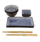Tokyo Design Studio Tokyo Design Studio Glassy Blue Wave Sushi Servies Set – 8-delig