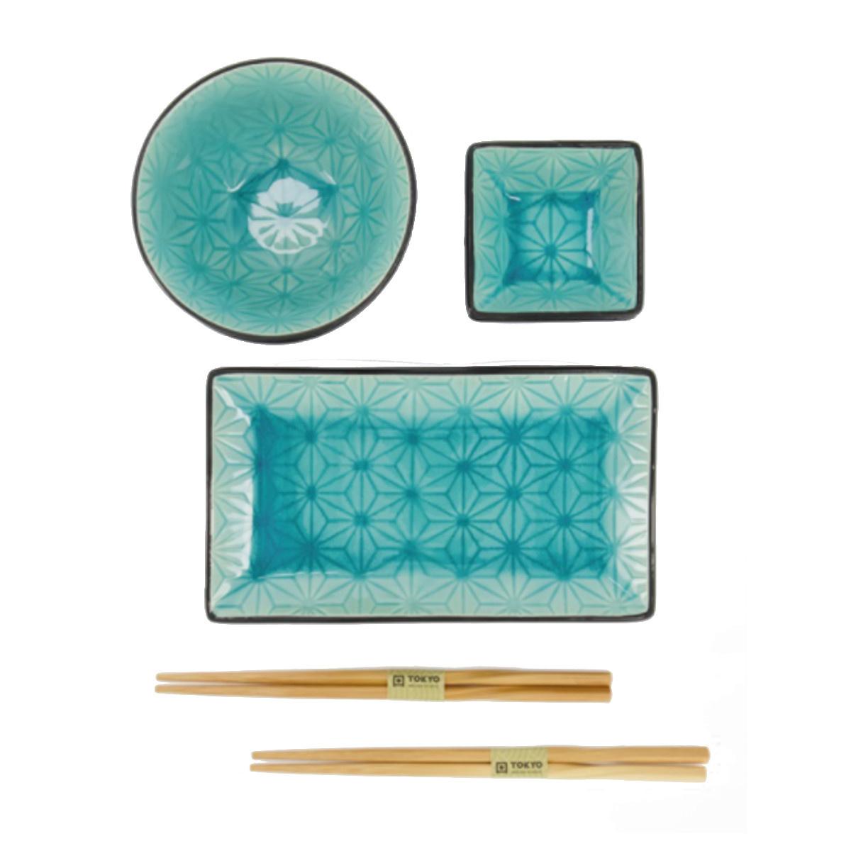 Tokyo Design Studio Tokyo Design Studio Glassy Turquoise Star Sushi Dinnerware Set – 8 pieces