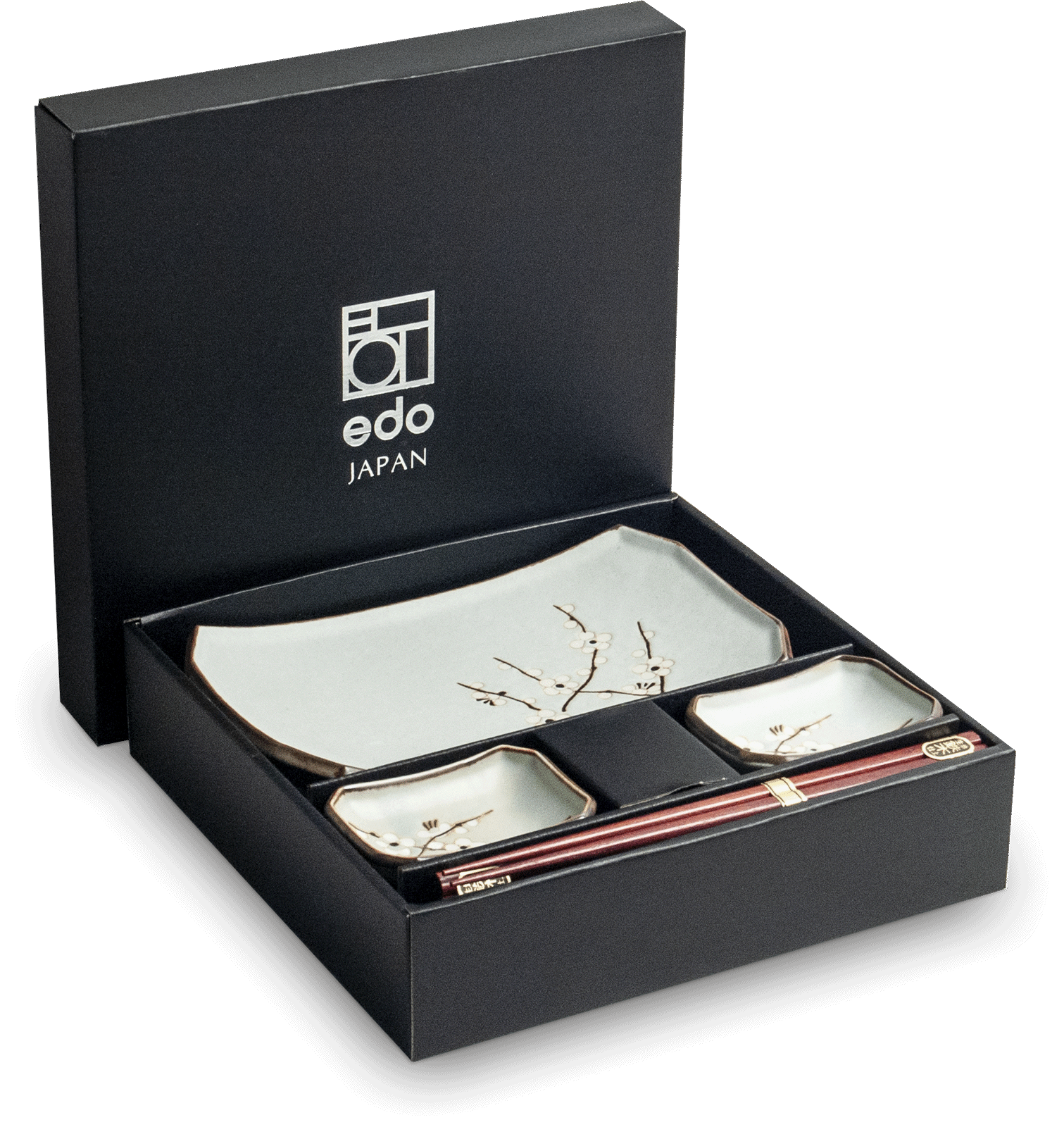 Edo Japan  Edo Japan   HANA GREEN   Authentic 6-piece Sushi Dinnerware Set   In Giftbox