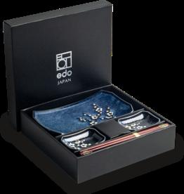 Edo Japan Edo Japan | HANA BLUE | Japanisches Sushi Geschirr Set | 6-Teilig | für 2 Personen | In Geschenkbox