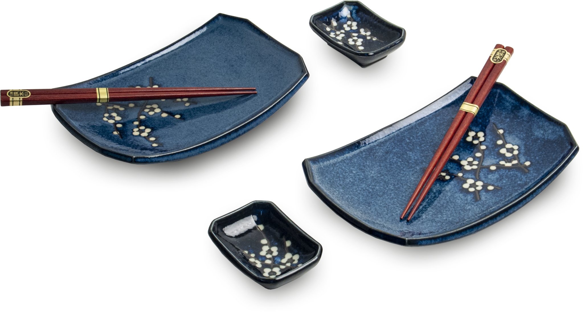 Edo Japan  Edo Japan   HANA BLUE   Authentic 6-piece Sushi Dinnerware Set   In Giftbox