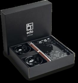 Edo Japan Edo Japan | HANA BLACK | Authentic 6-piece Sushi Dinnerware Set | In Giftbox