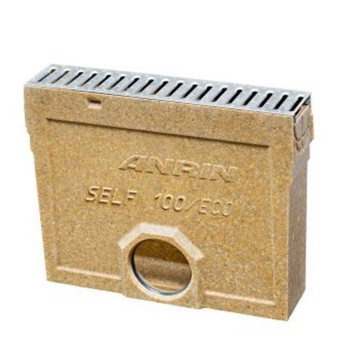 slibvangput voor vloergoot type self-100, met RVS sleufrooster met emmer, lengte 50 cm