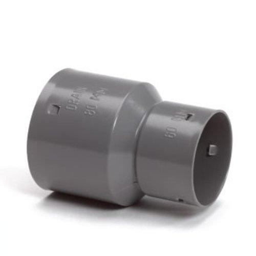 PVC klikverloopstuk voor drainage buis 60x80mm