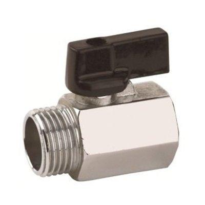 RIV messing verchroomde mini kogelafsluiter type 4011, bu dr x bi dr.