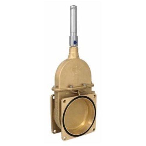 RIV messing schuifafsluiter type 14, 2x flens, inc. dubbelwerkende hydraulische cilinder