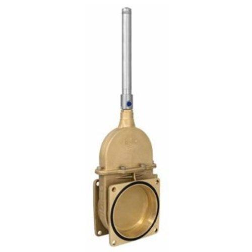 RIV messing schuifafsluiter type 17, 2x flens inc enkelwerkende hydraulische cilinder