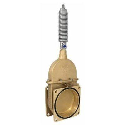 RIV messing schuifafsluiter type 19, 2x flens inc enkelwerkende stootveercilinder