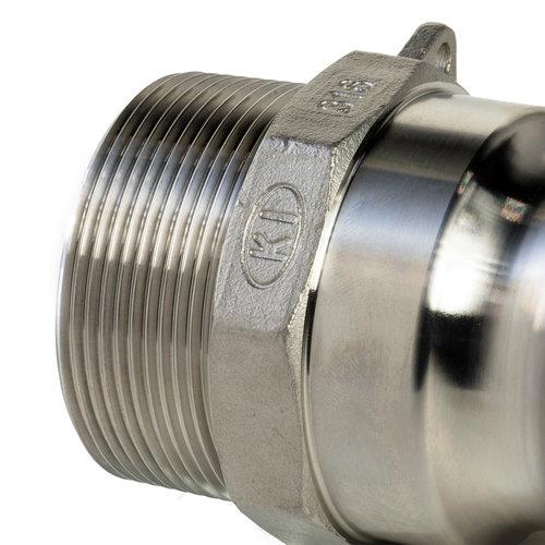 Camlock rvs 316 gegoten, M deel met buitendraad, type F