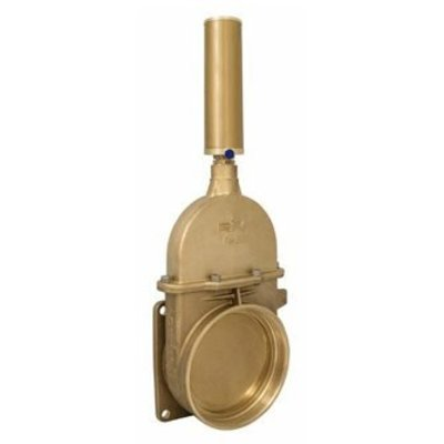 RIV messing schuifafsluiter type 43, flens x bi dr incl dubbelwerkende pneumatische cilinder