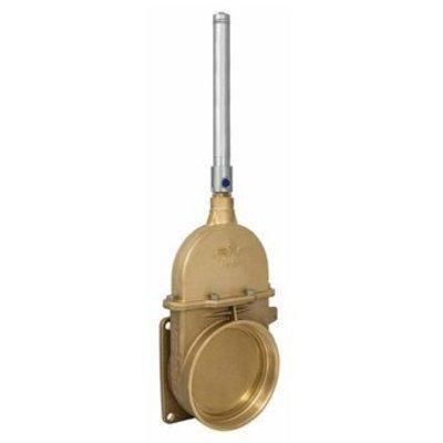 RIV messing schuifafsluiter type 47, flens x bi dr, incl enkelwerkende hydraulische cilinder