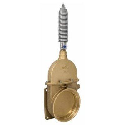 RIV messing schuifafsluiter type 49, flens x bi dr, incl enkelwerkende stootveercilinder