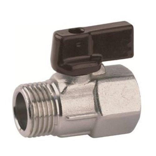RIV messing mini-kogelafsluiter, type 4001, buitendraad x binnendraad, gereduceerde doorlaat