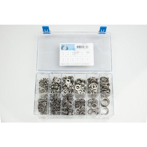 Assortiment box met veerringen elektrolytisch verzinkt