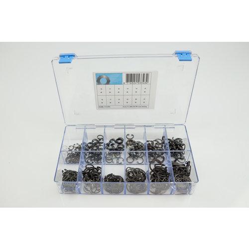 Assortiment box met zekeringsringen voor as in gefosfateerd staal