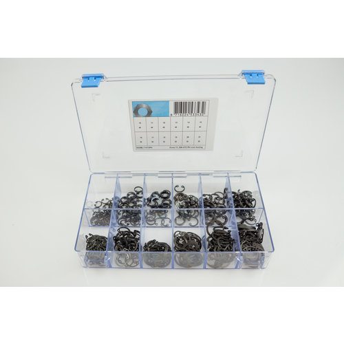 Assortiment box met zekeringsringen voor boring in gefosfateerd staal
