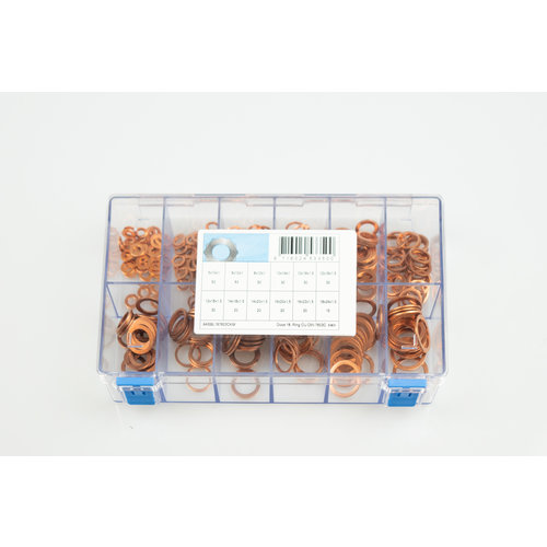 Assortiment box koperen ringen kleine maten