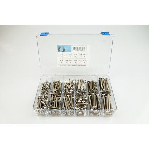 Assortiment box met metaalschroeven cilinderkop met kruis in RVS