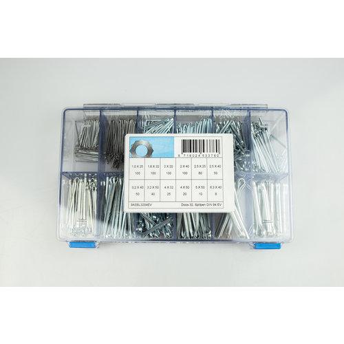 Assortiment box met splitpennen in RVS