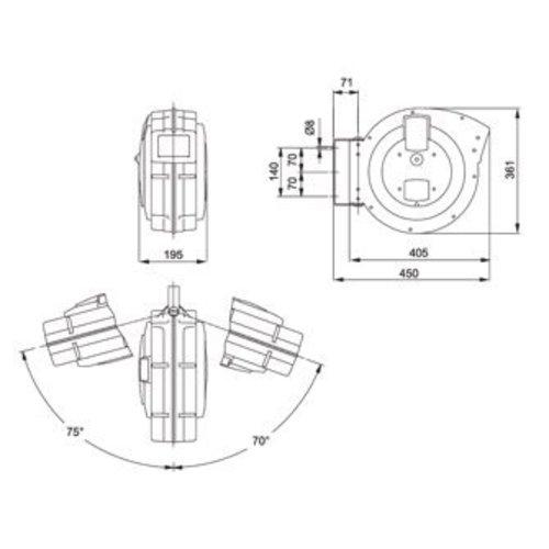 Mavel perslucht- en koudwaterhaspel, type Roll Major Plus Air l = 15m