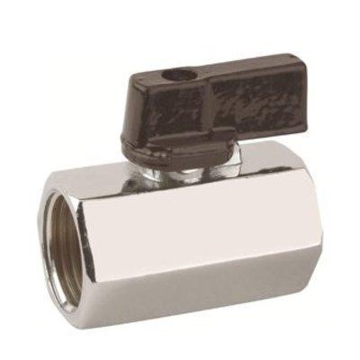 RIV messing verchroomde mini afsluiter type 4010, 2x binnendraad gereduceerde doorlaat, restpartij 50 stuks