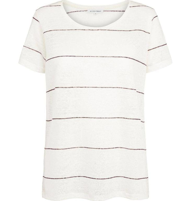 Second Female Soft White Peonie Stripe Tee 51417