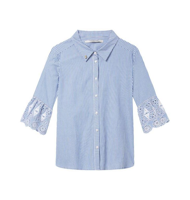 Amsterdam Blauw Blue/Soft White Shirt with embroidered sleeve 144667
