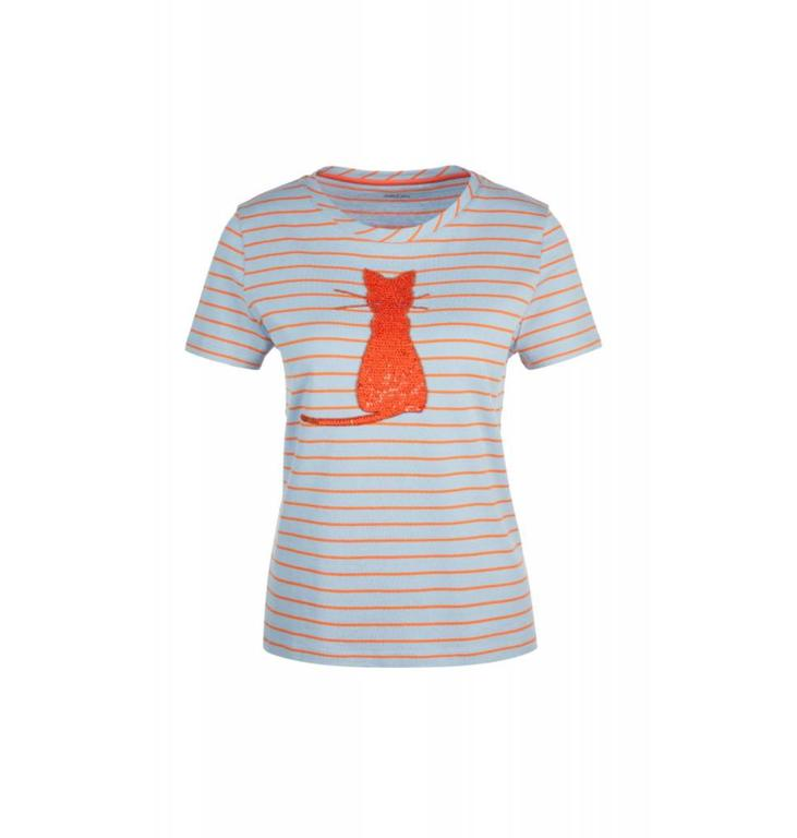 Marc Cain Collections Orange Striped T-shirt KC4847