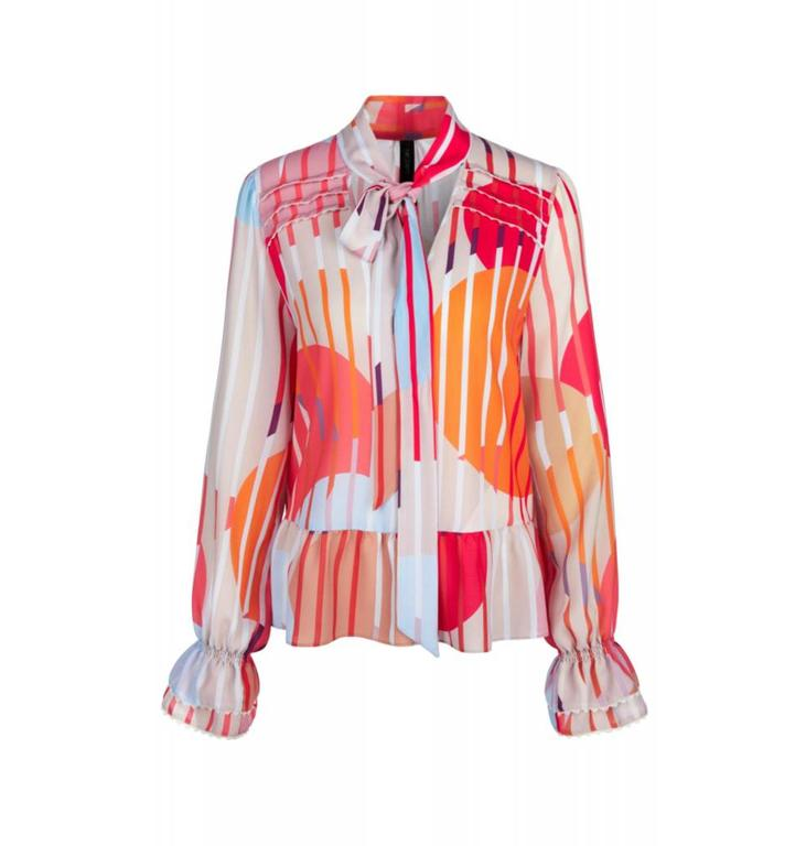 Marc Cain Collections Pink Print Blouse KC5113