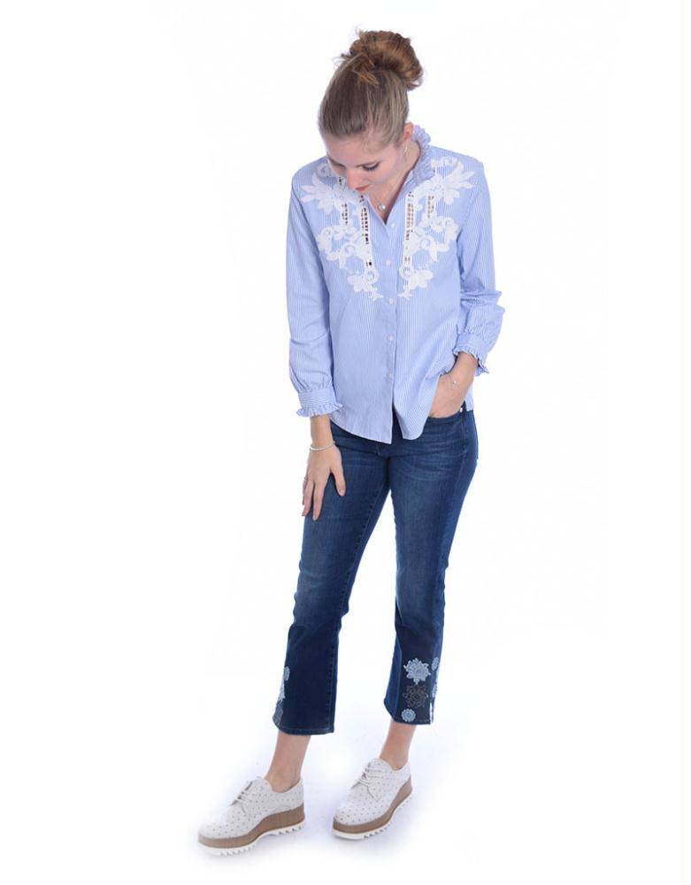 7 For All Mankind Denim Blue Cropped Boot SYRU580