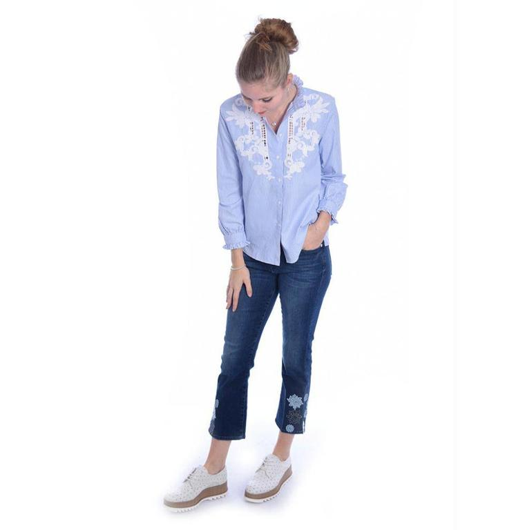 7 For All Mankind 7 For All Mankind Denim Blue Cropped Boot SYRU580