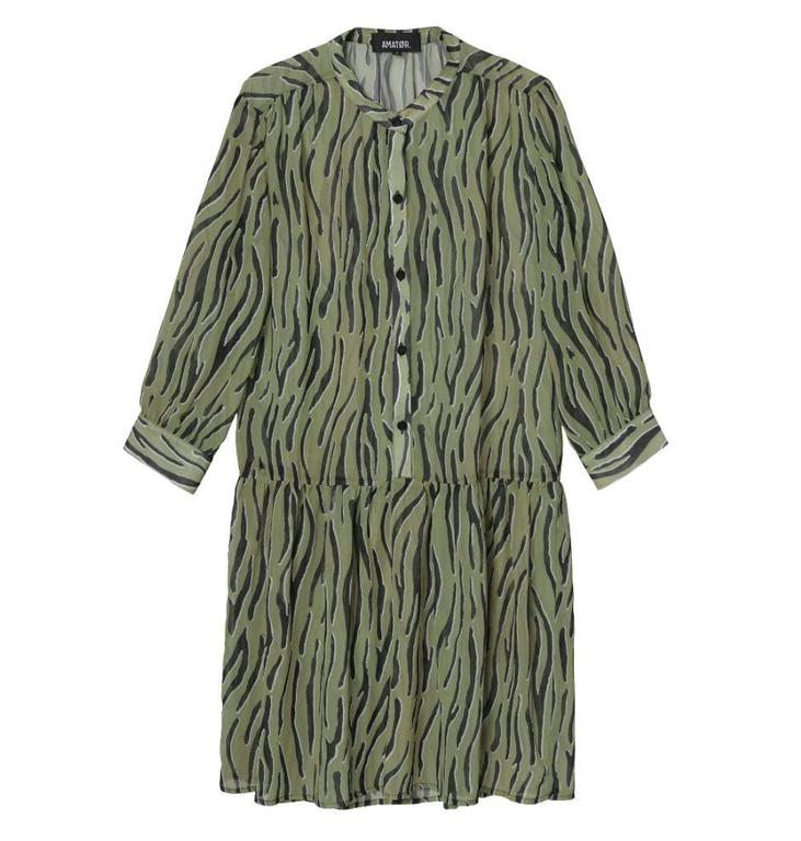 Amator Amator Green Zebra Dress Dumont