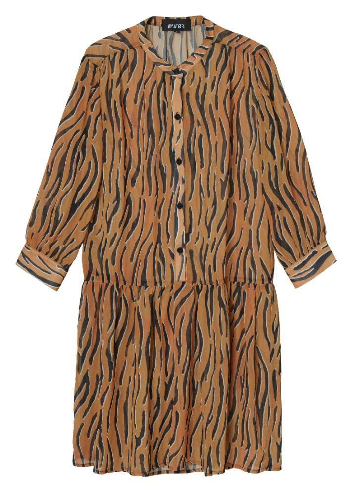 Amator Orange Zebra Dress Dumont