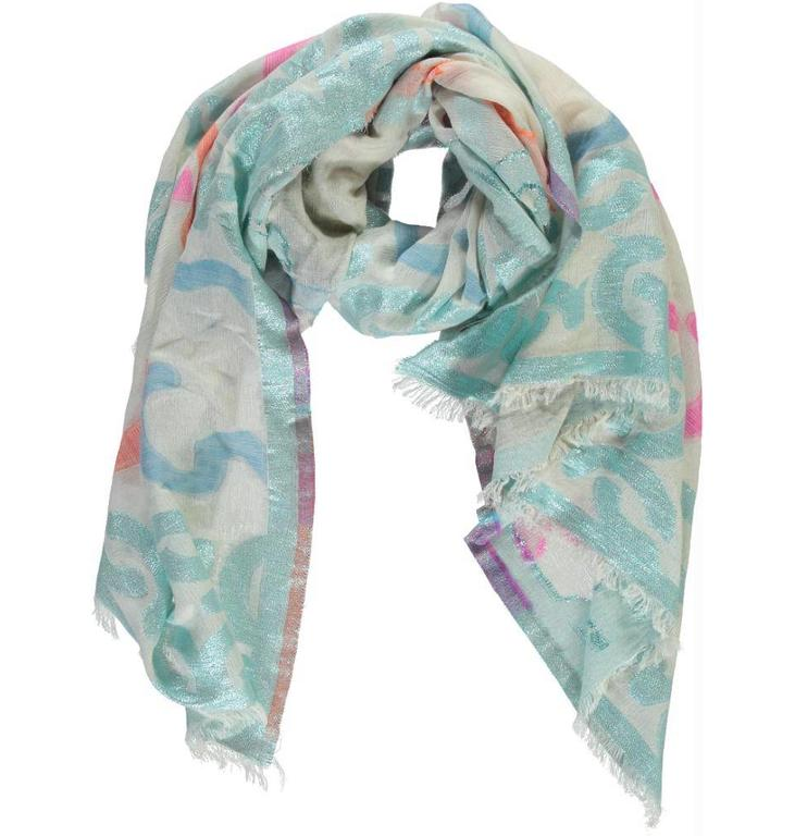 Essentiel Antwerp Essentiel Antwerp Blue Graphic Lurex Scarf Proxima