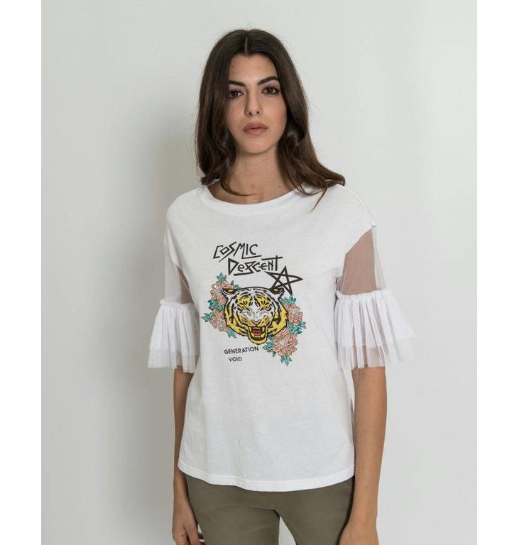 Silvian Heach Silvian Heach White T-shirt Quilombo 18318TS