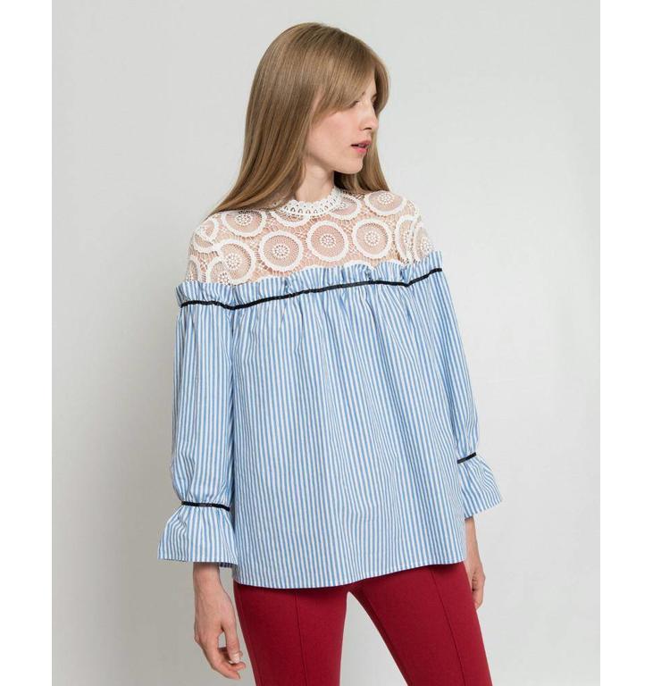 Silvian Heach Silvian Heach Blue/Soft White Blouse Mumba PGP18385BL