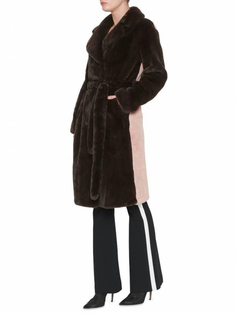 Stand Brown Faustine Coat Pink Back 60529/8780