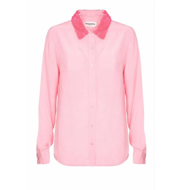 Essentiel Antwerp Essentiel Antwerp Pink Blouse met Gepailleerde Kraag Raksoi