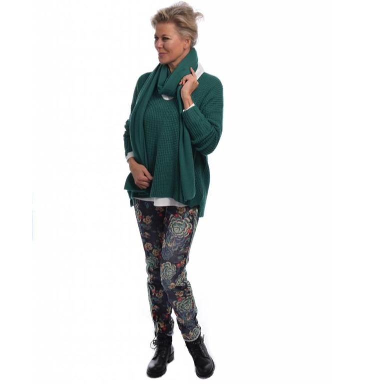 Repeat Repeat Green Waffle Knit Sweater 300097