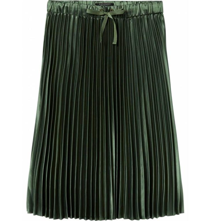 Maison Scotch Maison Scotch Green Shiny Pleated Skirt 146727