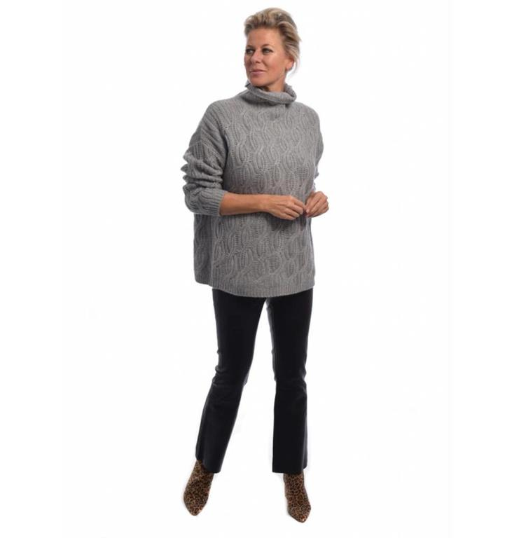 Repeat Repeat Grey Cableknit Cashmere Sweater 100169