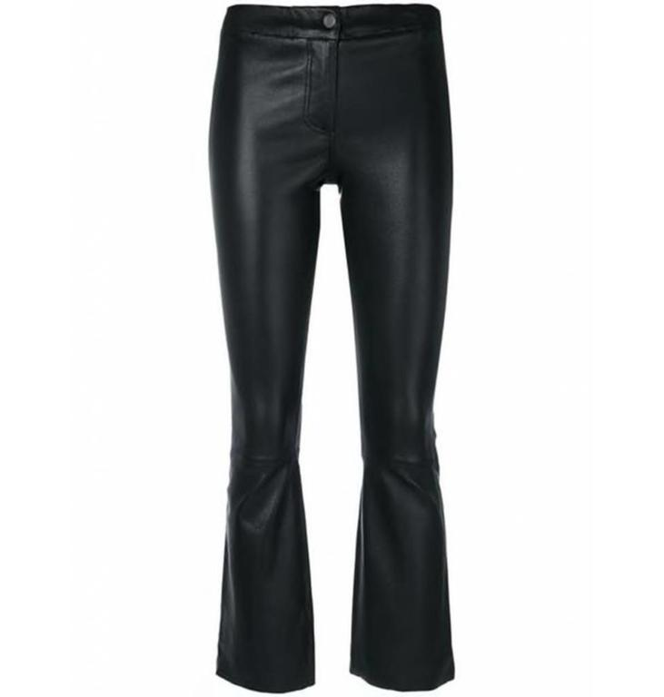 Arma Arma Black Cropped Flair Leather Pants Lively