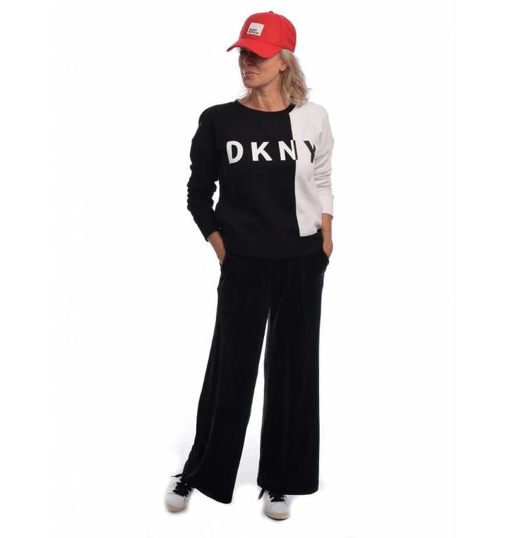 DKNY SPORT DKNY SPORT Black/White Logo Fleece Sweat DP8T