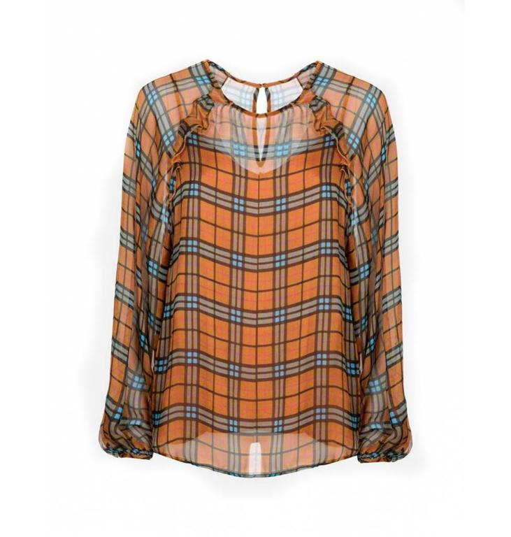 Essentiel Antwerp Essentiel Antwerp Orange Plaid Blouse Savier