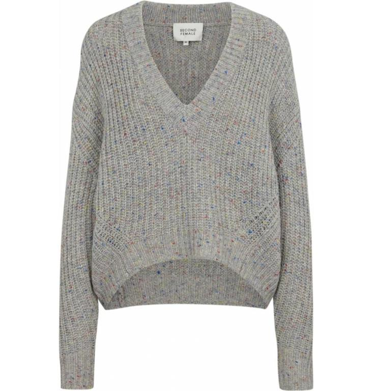 Second Female Second Female Grey Knit V-Neck Galaxy